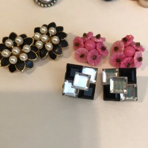 3 pair vintage clip earrings
